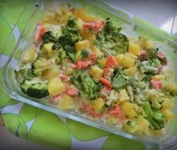 Сьомга с броколи и картофи