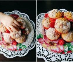 Мъфини с ягоди и банан